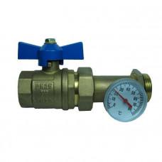 Вентиль разборный 25 (прямой  с термометром) FX-83515